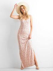 BY SALLY Łososiowa sukienka maxi na ramiączkach w łączkę