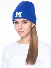 Forever Pink Niebieska czapka beanie z literą M