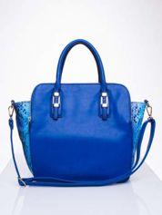 Niebieska torba z wstawkami animal print