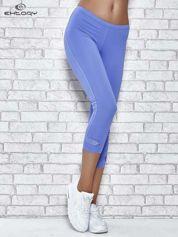 Niebieskie legginsy sportowe termalne z patką z dżetów