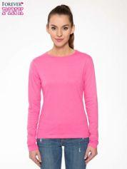 Forever Pink Różowa bawełniana bluzka typu basic z długim rękawem