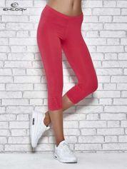 Różowe legginsy sportowe z dżetami i marszczoną nogawką za kolano