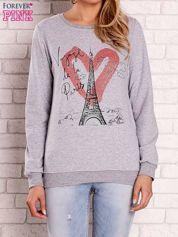 Szara bluza z motywem paryskim