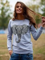 Szara bluza z nadrukiem słonia