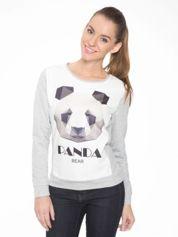 Szara dresowa bluza z nadrukiem pandy