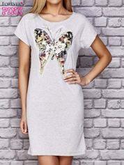 Szara sukienka z cekinowym motylem