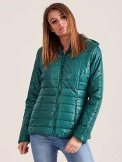 Forever Pink Zielona błyszcząca kurtka zimowa z kapturem