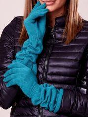 Zielone długie rękawiczki z marszczonym ściągaczem