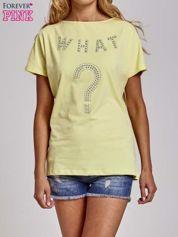 Butik Żółty t-shirt z aplikacją z dżetów WHAT?