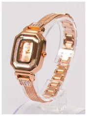 zdobny damski zegarek z cyrkoniami, w kolorze różowego złota, na stalowej bransolecie z łańcuszkami