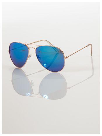 AVIATORY złote okulary pilotki lustrzanki niebieskie