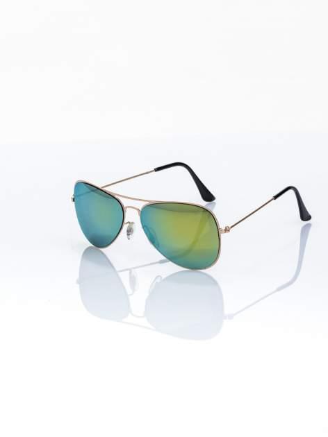 ABSOLUTNY HIT CENOWY zielono-złote okulary przeciwsłoneczne pilotki lustrzankii AVIATOR