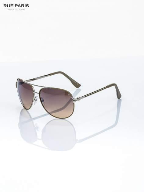 AVIATORY srebrne okulary przeciwsłoneczne pilotki