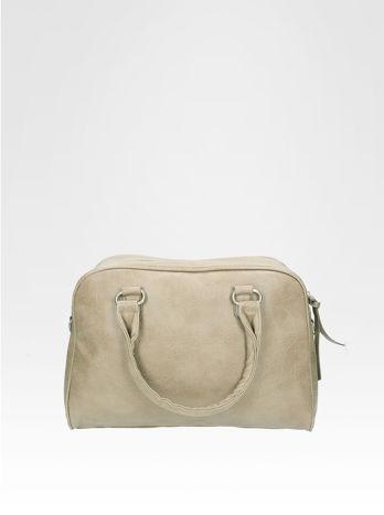 Beżowa torebka typu miękki kuferek z dodatkowym paskiem