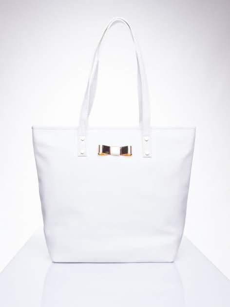 Biała torebka shopper bag z kokardką
