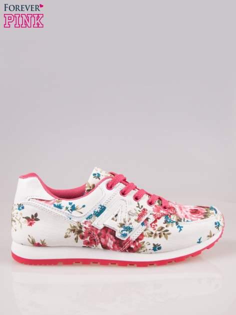 Białe kwiatowe buty sportowe w stylu casual