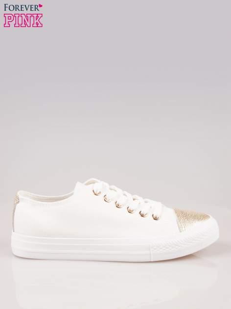 Białe trampki damskie ze złotym czubkiem