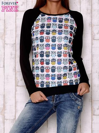 Biało-czarna bluza z sowami