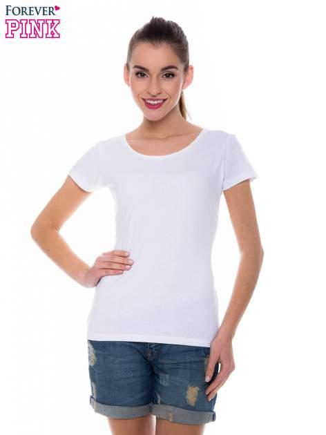 Biały basicowy t-shirt z okrągłym dekoltem