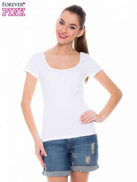 Biały gładki t-shirt z marszczeniem z tyłu