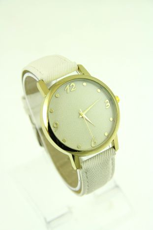 Biały zegarek damski z imitacją jeansu na skórzanym pasku