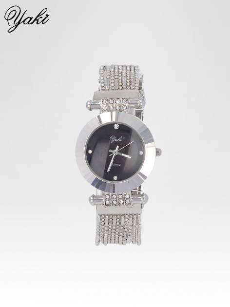 Biżuteryjny srebrny zegarek damski z czarną tarczą