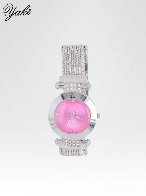 Biżuteryjny srebrny zegarek damski z różową tarczą