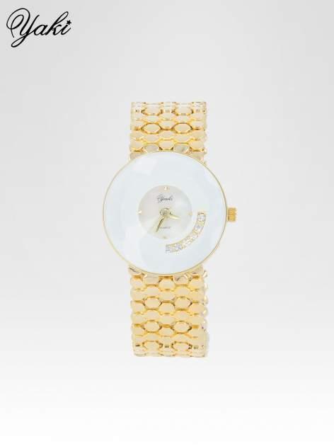 Biżuteryjny złoty zegarek damski z białą tarczą z cyrkoniami