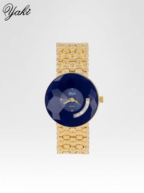 Biżuteryjny złoty zegarek damski z niebieską tarczą z cyrkoniami