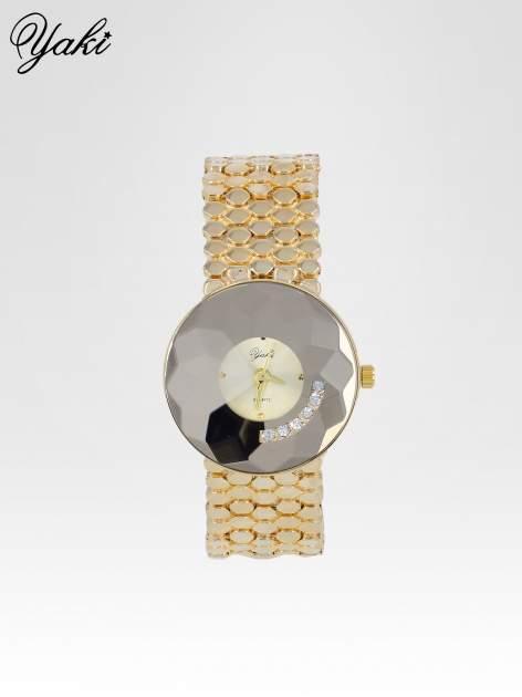 Biżuteryjny złoty zegarek damski z tarczą z cyrkoniami