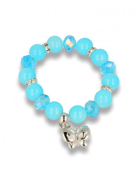 Błękitna Bransoletka koralikowa z zawieszką w kształcie motylka