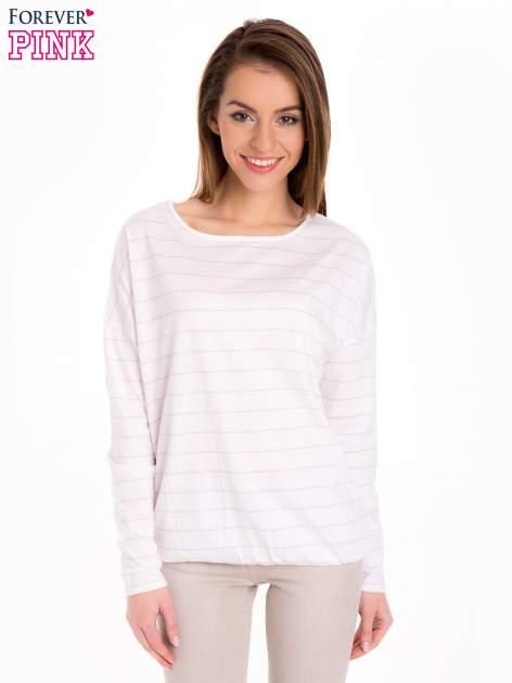 Bluzka w biało-różowe paski z gumką u dołu