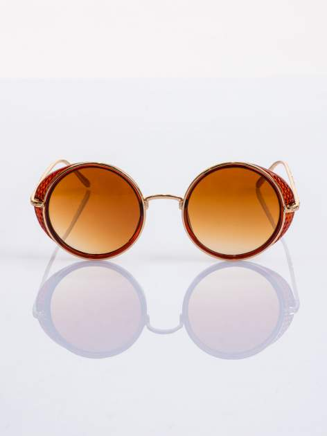"""Brązowo-złote okulary przeciwsłoneczne """"LENONKI"""" w stylu RETRO"""