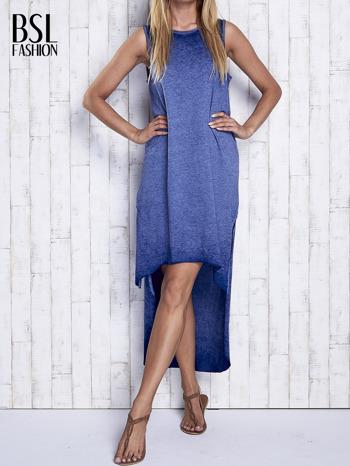 Ciemnoniebieska dekatyzowana sukienka maxi z dłuższym tyłem