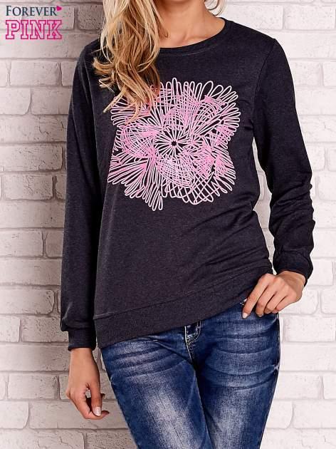 Ciemnoszara bluza z kolorowym nadrukiem