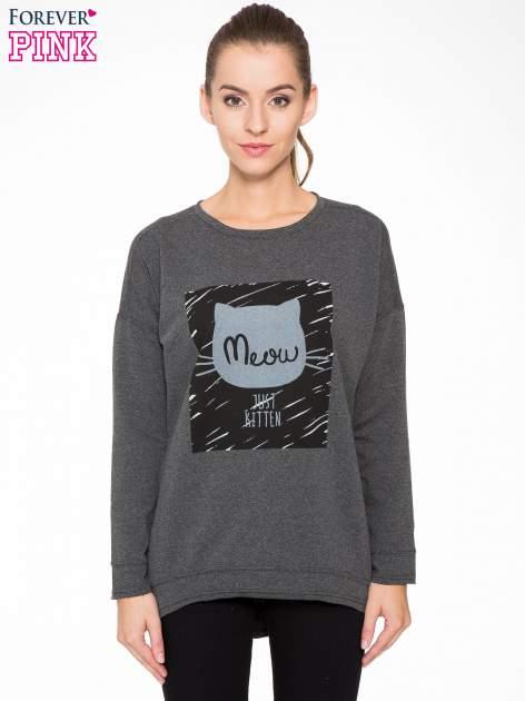 Ciemnoszara bluza z nadrukiem MEOW