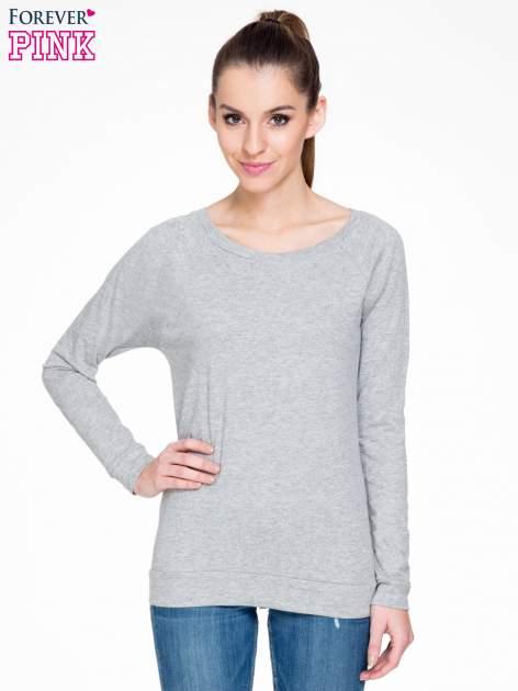Ciemnoszara melanżowa bawełniana bluzka z rękawami typu reglan