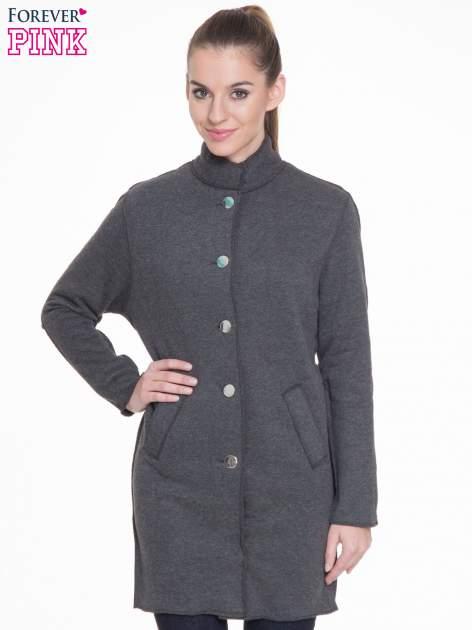Ciemnoszary dresowy płaszcz o kroju oversize