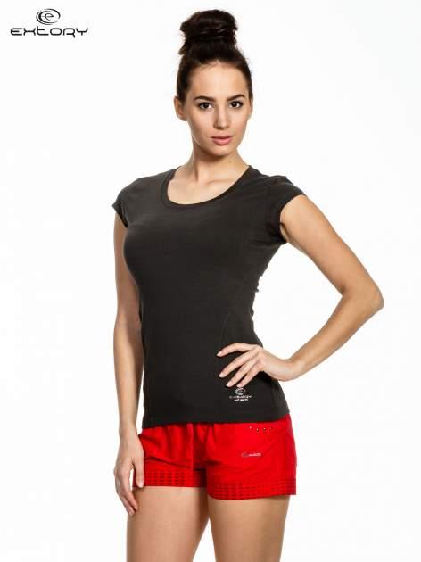 Ciemnoszary melanżowy damski t-shirt sportowy basic