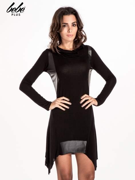 Czarna asymetryczna sukienka ze skórzanymi wstawkami