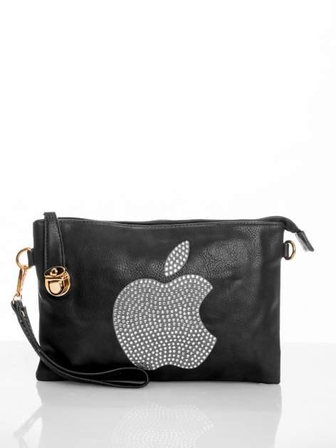 Czarna kopertówka z dżetami motyw apple