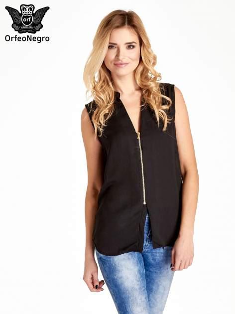 Czarna koszula V-neck z suwakiem