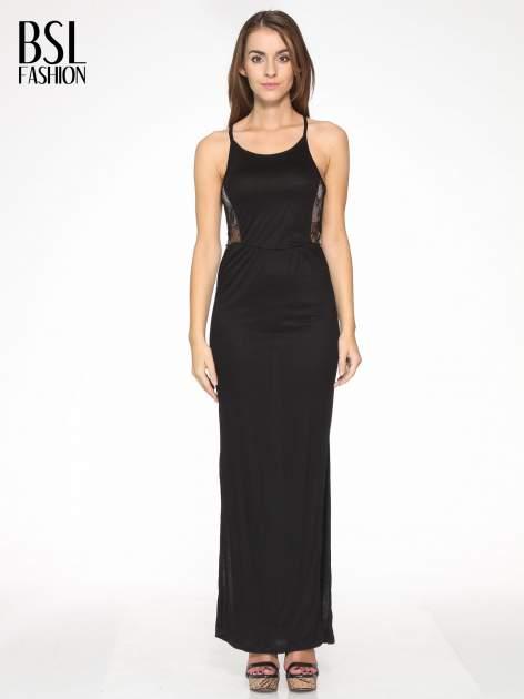 Czarna sukienka maxi na ramiączkach z koronkowym tyłem