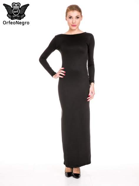 Czarna sukienka maxi z dekoltem na plecach