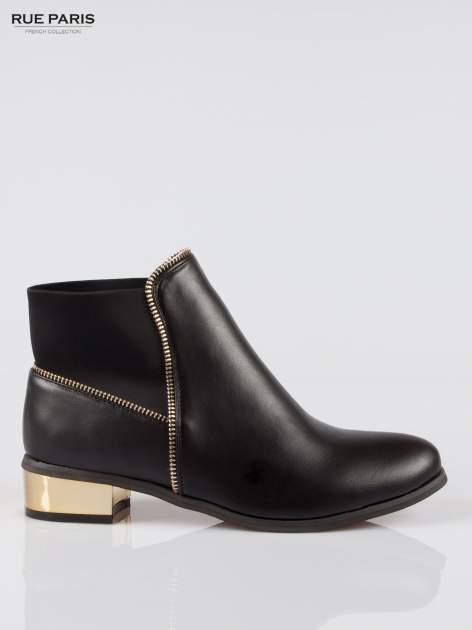 Czarne botki ankle boots z zamkiem i złotym obcasem