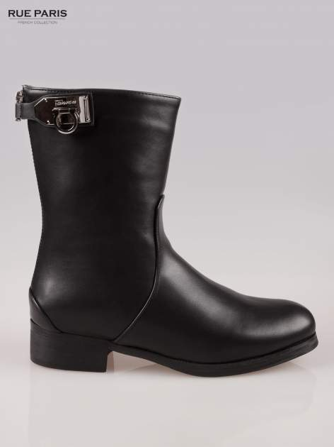 Czarne botki biker boots z zamkiem z tył