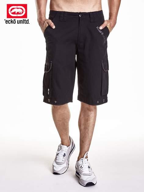 Czarne długie szorty męskie z napami na nogawkach