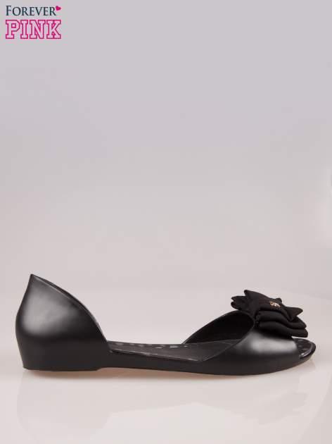 Czarne gumowe baleriny peep toe z materiałową kokardką