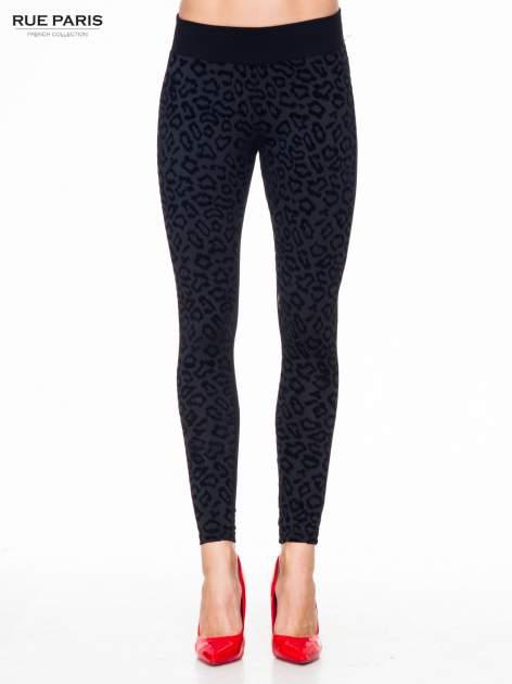 Czarne panterkowe legginsy z wysokiem pasem