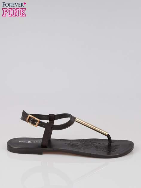 Czarne skórzane sandały japonki ze złotą blaszką